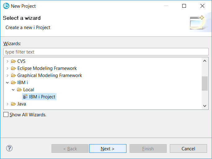 Create IBM i project