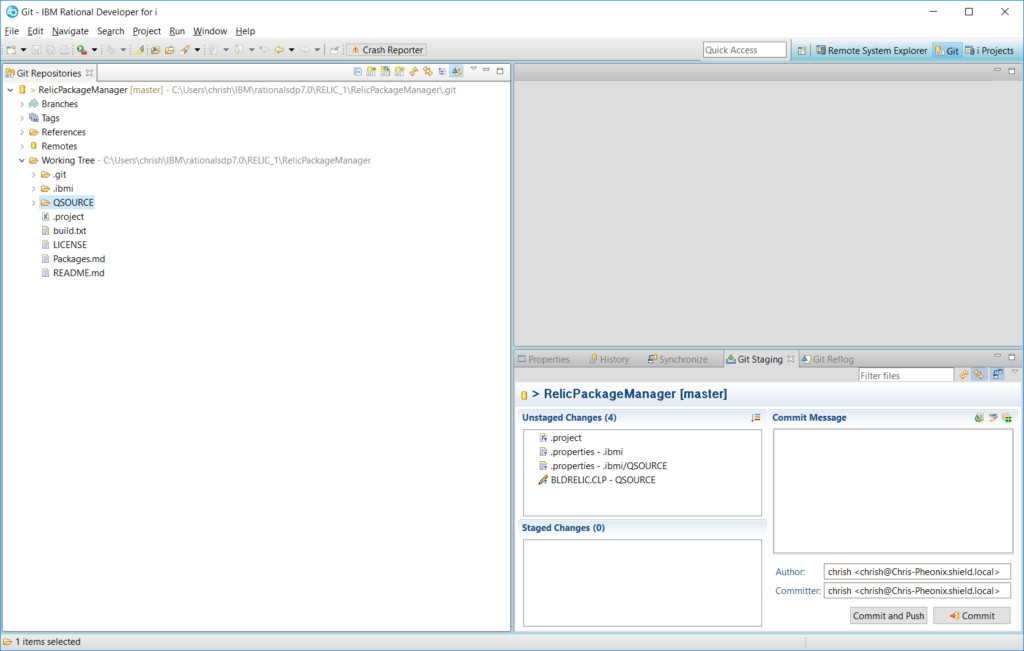 New file already in unstaged changes window