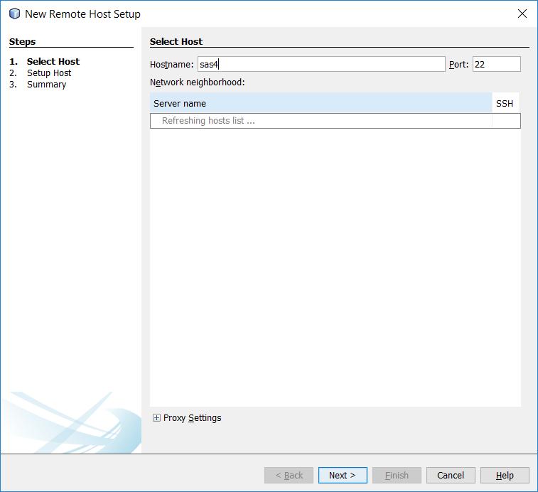 Remote Host address dialog